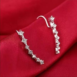 Jewelry - Silver CZ sparkle sleeve earrings